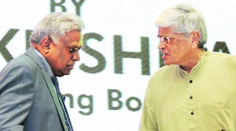 Chairman Governing Body, IIAS, Gopalkrishna Gandhi and CBI Director Ranjit Sinha in New Delhi on Tuesday. Prem Nath pandey