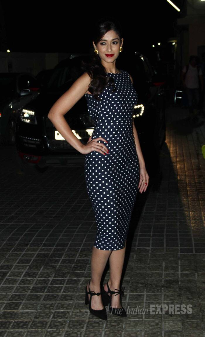 Main Tera Hero's lead actress Ileana D'Cruz was all decked up in a polka-dotted Zara dress with black pointed pumps. (Photo: Varinder Chawla)