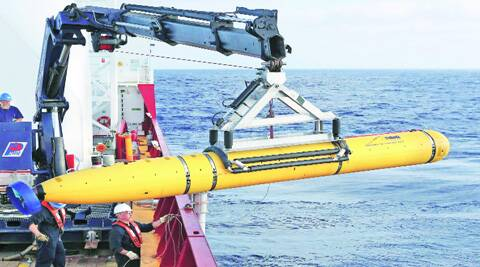 Bluefin-21 being launched in the ocean on Monday. reuters