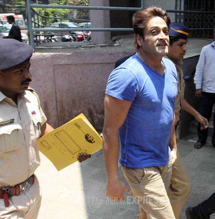 The 40-year-old actor was produced before a Bandra Magisterial Court that remanded him in police custody till April 30. (IE Photo:  Dilip Kagda)