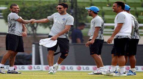 The Indian team in Dhaka on Saturday. (AP)