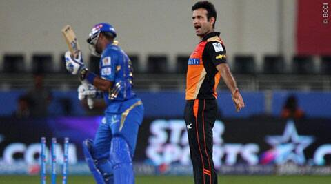 Irfan Pathan bowled Pollard in the first ball of the final over, in which Mubai needed 20 runs (Photo: BCCI/IPL)