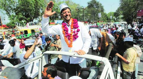 Javed Jaaferi on a roadshow in Lucknow Thursday. (Vishal Srivastav)