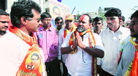 Rashtriya Samaj Paksha Lok Sabha candidate Mahadev Jankar campaigns at Amegaon Pathar village on Monday.