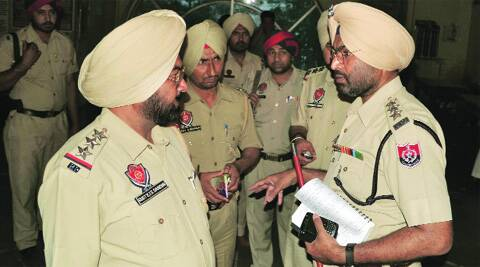 At the crime scene in Ludhiana on Wednesday. Gurmeet singh