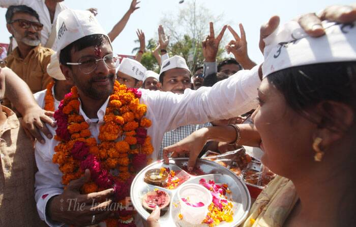Bollywood actor and AAP candidate Javed Jaffrey during his election campaign rally in Lucknow on Thursday. (IE Photo: Vishal Srivastav)