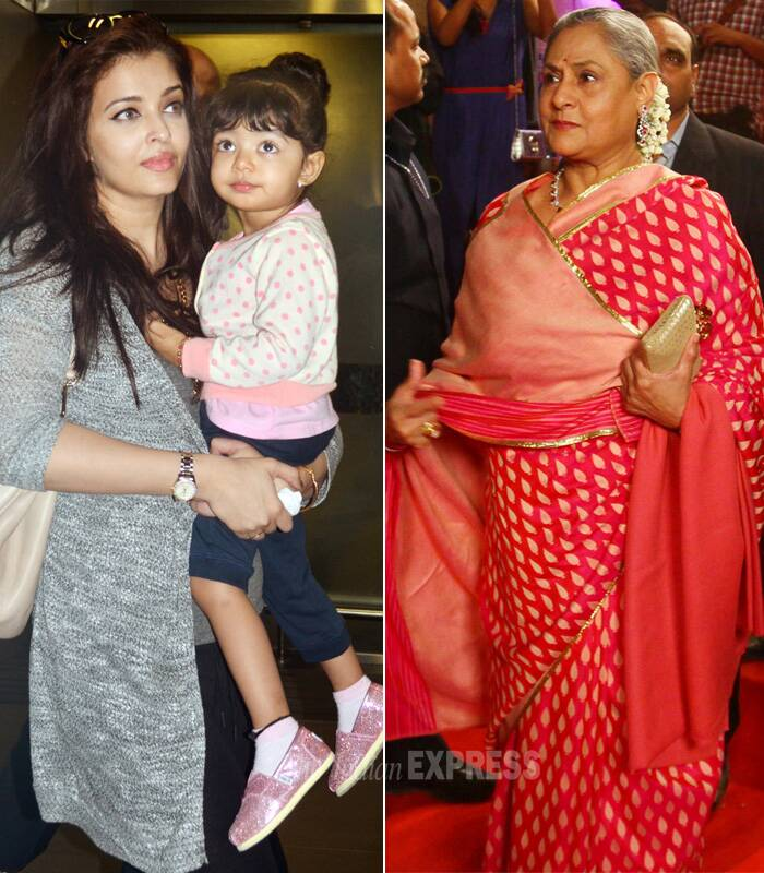 "In a recent interview to BBC, Jaya Bachchan had confessed that Aishwarya is a hands-on mom to granddaughter Aaradhya. She revealed in an interview that she teases Aishwarya saying: ""Aaradhya is a very lucky girl because can you imagine having a nurse like Miss World Aishwarya.""<br />Jaya bachchan calls her one-and-half-year-old daughter Aaradhya 'Strawberry' because 'when she was born she reminded me of a strawberry. (IE Photo)"