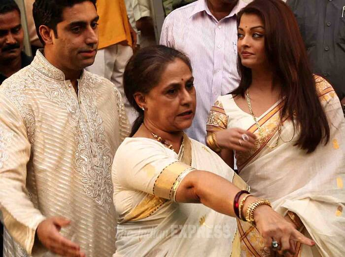 Recently there were reports that Abhishek and Aishwarya Rai have decided to separate from the family due to Jaya Bachchan's alleged overbearing presence. It was also said that Jaya and Aishwarya did not even acknowledge each other at Nita Ambani's birthday bash last year, held in Udaipur. However the rumours soon faded away when Jaya Bachchcan and Aishwarya Rai made a few public appearances including the recent being Rajiinikanth's Kochadaiiyaan trailer launch. (Express archive photo)