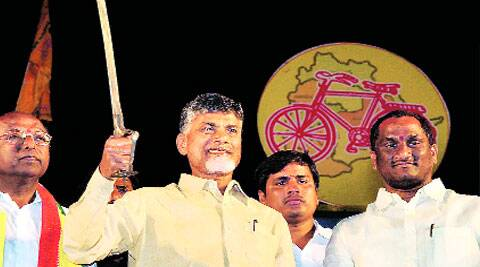 Chandrababu Naidu campaigns in Warangal on Wednesday. PTI