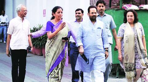 BJP delegation led by Mukhtar Abbas Naqvi outside EC office in Delhi, Tuesday.