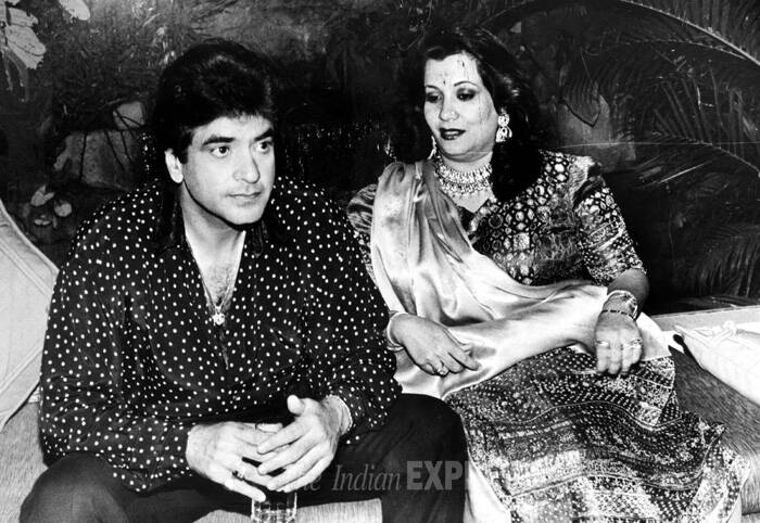 Jeetendra attended St. Sebastian's Goan High School in Girgaum, with his friend and actor Rajesh Khanna and later on went to K.C. College.<br /> Jeetendra poses with his wife Shobhaa. (Express archive photo)