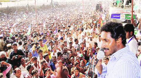 YS Jaganmohan Reddy addresses a meeting in Nalgonda Saturday.PTI