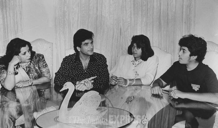 We wish Jeetu Ji, as he is fondly known in the film industry, a very happy bithday.<br /> Seen in the picture are Jeetendra, Shaobha, Ekta and Tusshar Kapoor. (Express archive photo)