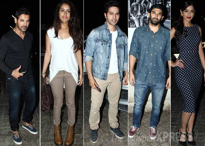 Bollywood's newest lovebirds Aditya Roy Kapoor and Shraddha Kapoor joined John Abraham, Ileana D'Cruz and Varun Dhawan for the special screening of David Dhavan's 'Main Tera Hero' on Thursday (April 3). (Photo: Varinder Chawla)