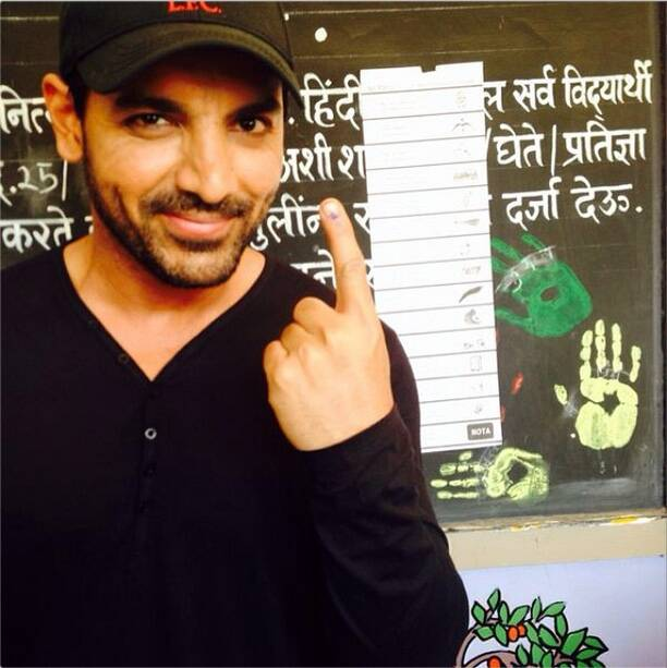"Actor John Abraham said, ""I cast my Vote... So must every Indian who is eligible. Be responsible."""