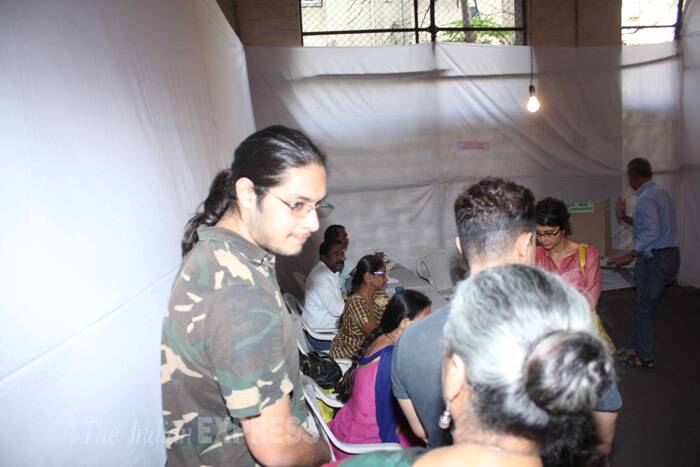 Aamir's son Junaid was also spotted at a polling booth in Mumbai. (Photo: Varinder Chawla)