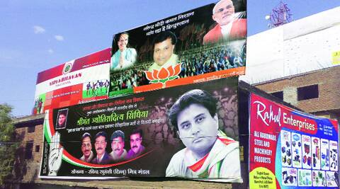 Posters of the BJP and Congress candidates in Guna. MILIND GHATWAI