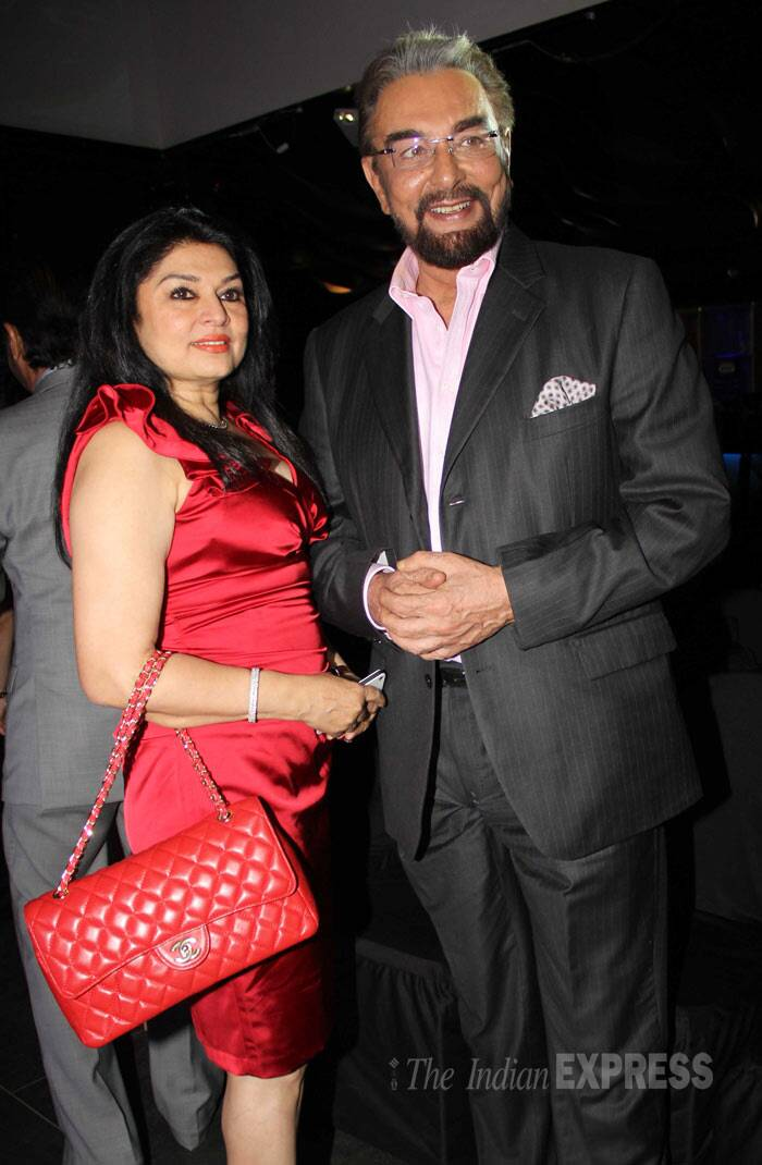 Director Ramesh Sippy's wife Kiran Juneja poses for a picture along with Kabir Bedi. (Photo: Varinder Chawla)