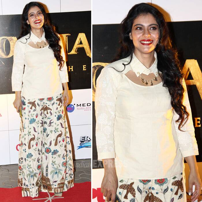 Kajol picked up a Purvi Doshi outfit at the launch of Rajinikanth's 'Kochadaiiyaan'. Kajol finished off her look with glittering collar pin, curls and red lips! (Photo: Varinder Chawla)