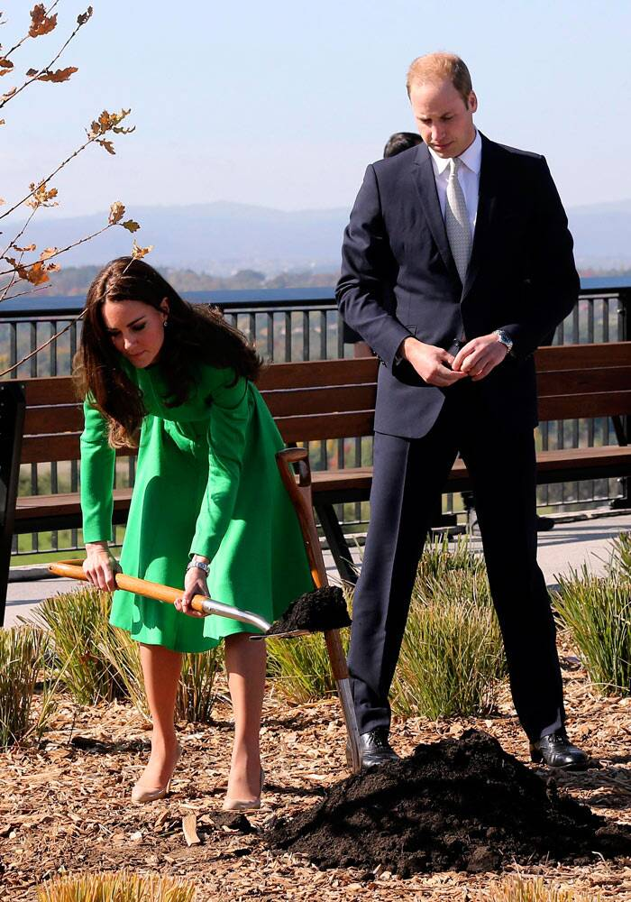 Kate proves she's not too royal to get her hands dirty. The Duchess did a bit of digging while planting a tree at the National Arboretum in Canberra. (Reuters)