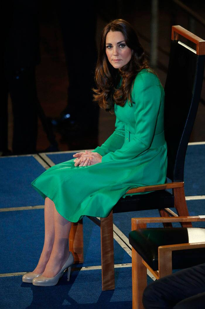 The Duchess surely looks every bit royal as the future queen takes a seat inside.