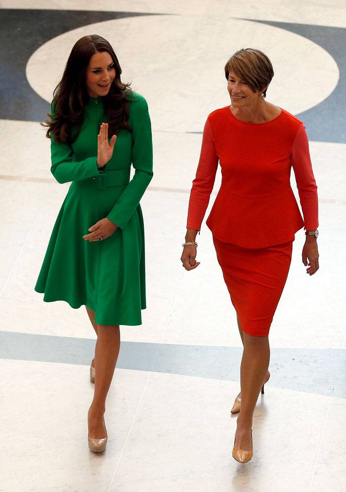 Kate is seen here walking with Margie Abbott, the wife of Australian Prime Minister Tony Abbott, the Duchess was elegant in a green Venetian wool coatdress by Catherine Walker with nude coloured heels. (Reuters)