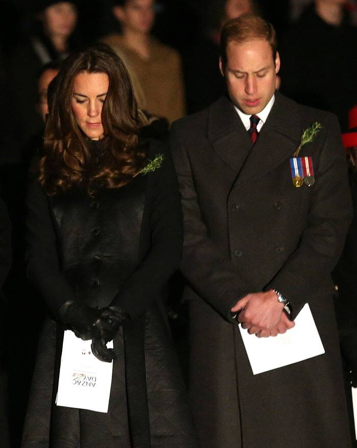The Royals also attended a solemn service at the Australian War Memorial on Anzac Day in Canberra at dawn on April 25, the last day of their tour. (AP)