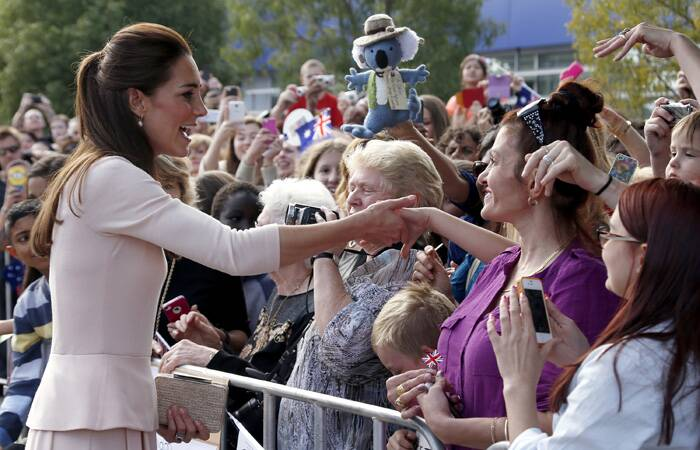 Kate meets members of the crowd outside the Playford Civic Centre. (AP)