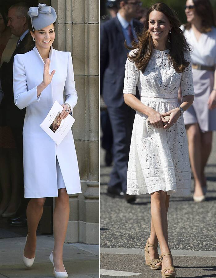 In twos – Kate Middleton looked elegantly in  a grey colour Alexander McQueen coat for the church. She finished off her look with a Jane Taylor hat and high-heeled court shoes. <br /> For the Easter show, Kate wore a white applique dress and finished off her look with brown wedges. (AP)