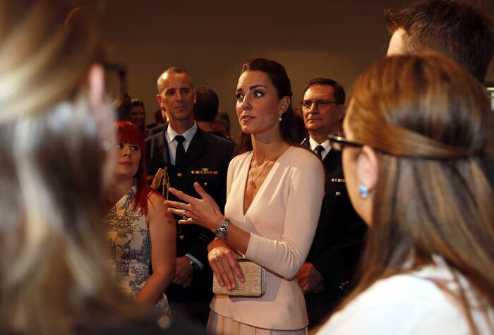 The Duchess talks to community officials during a visit to the Playford Civic Centre. (Reuters)