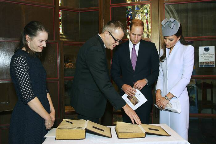 Kate and William also signed the First Fleet Bible, which was used in the country's first church service in 1788.<br /><br />Prince William and Kate Middleton prepare to sign the First Fleet Bible and Prayer Book following an Easter Sunday service at St. Andrews Cathedral in Sydney. (AP)