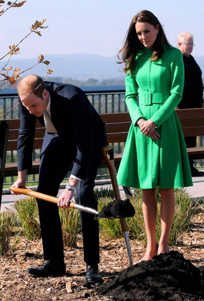 The Duke of Cambridge, Prince William also took his turn to shovel dirt. (Reuters)