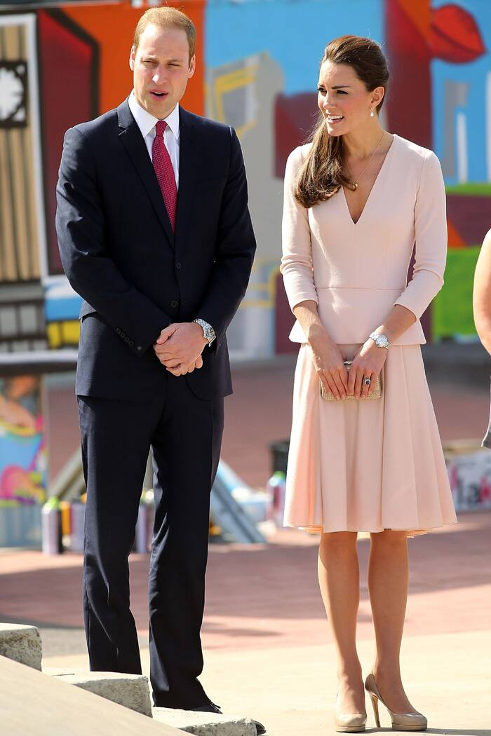 Prince William and Kate Middleton are shown through the skate park in Elizabeth near Adelaide. (Reuters)