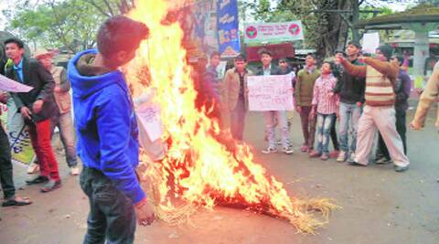 People protest rhino killing in Kaziranga. (Bitopan Majee)