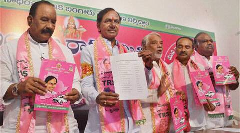 TRS President K.Chandra Sekhar Rao with party leaders releasing candidates list along with party Manifesto in Hyderabad on Friday. (PTI)