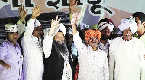 Arvind Kejriwal during a rally in Dwarka. (Express)