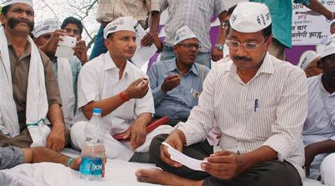 Arvind Kejriwal during his election campaign at a village in Varanasi. (PTI Photo)