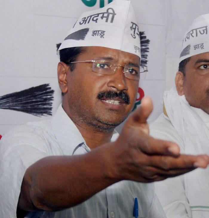 AAP convenor Arvind Kejriwal  talks to media in Varanasi. (PTI)