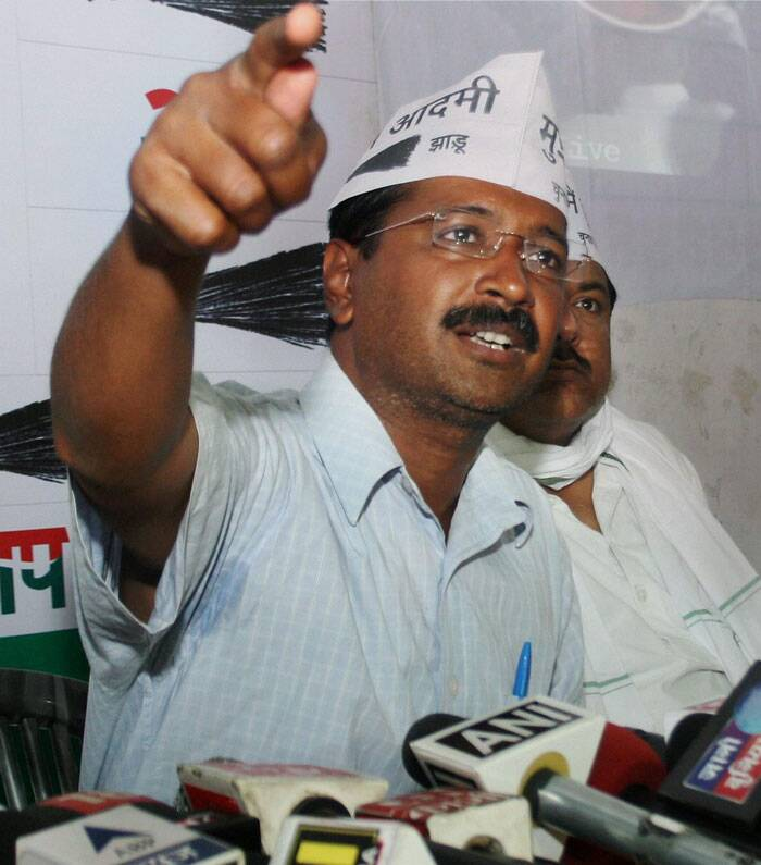 AAP convenor Arvind Kejriwal  addresses  a press  conference in Varanasi on Tuesday. (PTI)