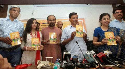"AAP convener Arvind Kejriwal releases the book ""Dahleez Par Dil: Safar Badlav Ki Bechainiyon Ka"" authored by Chanchal Sharma (R) and Dilip Pandey (3rd L) during a function in New Delhi on Monday. (PTI)"