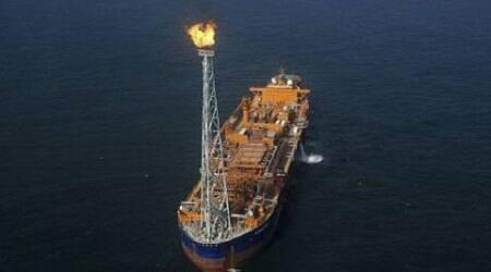 Reliance Industries KG-D6's floating production storage and offloading (FPSO) vessel is seen off the Bay of Bengal. (Reuters)
