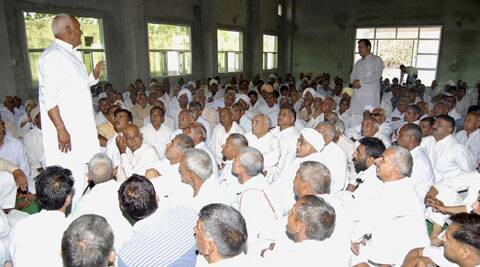 The meeting of satrol khap panchayat in Narnaund town of Hisar on Sunday. Express Photo