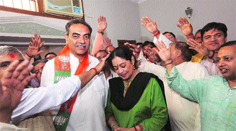 Kirron Kher with supporters on Wednesday. (Photo: Jaipal Singh)