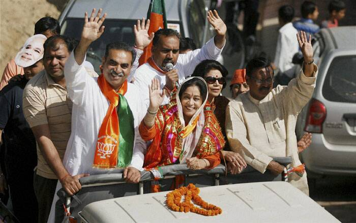 BJP Candidate from Chandigarh Kirron Kher campaigning for Lok Sabha election in Chandigarh on Tuesday. (PTI)