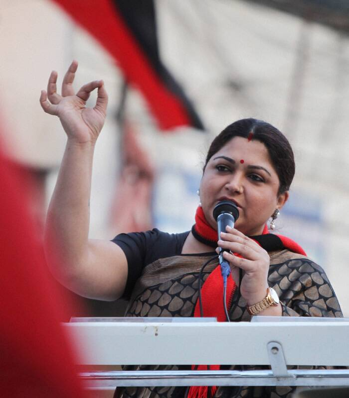 Actress and DMK leader Kushboo at an election campaign rally for Chennai North Lok Sabha constituency candidate Dayanidhimaran at Mint Street in Chennai. (PTI)