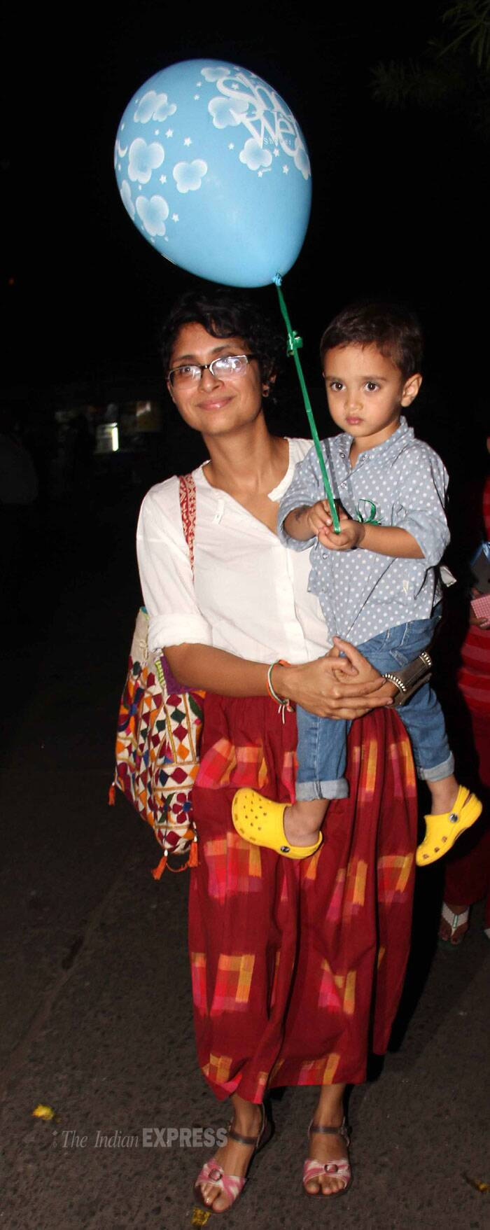 Aamir Khan and Kiran Rao's son Azad looked super cute in his shirt and denims as he made his way to Imran Khan and Avantika Malik's baby shower with a balloon in hand. (Photo: Varinder Chawla)
