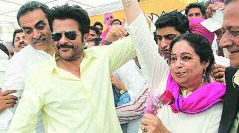Actor Anil Kapoor with BJP candidate Kirron Kher at Grain Market in Sector 26, Chandigarh, on Sunday. (Jasbir Malhi)