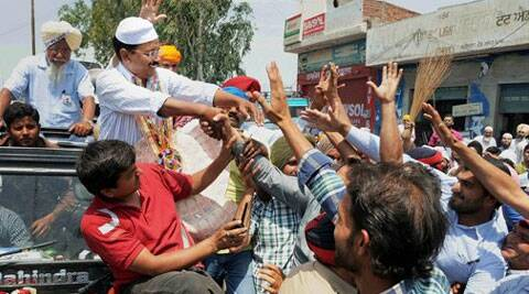 AAP Chief Arvind kejriwal during an election campaign at Malerkotla on Sunday for party candidate Bhagwant Mann from Sangrur. (PTI)