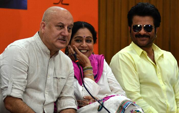 Kirron Kher's husband and Bollywood actor Anupam Kher while seeking people's support for her wife, said he had discovered her as a strong woman. (IE Photo: Kshitij Mohan)