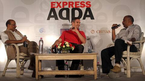 (From left) Shekhar Gupta, Editor-in-Chief, The Express Group, Delhi Daredevils captain Kevin Pietersen  and Sandeep Dwivedi, National Sports Editor, The Indian Express